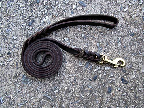 ABC Sport Klin Hundeleine, geflochten, weiches Leder, 1,80 m x 15 mm, mit Messing-Verschluss, Braun