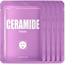 LAPCOS Ceramide Sheet Mask, Daily Face Mask to Moisturize and Plump Skin, 5-Pack