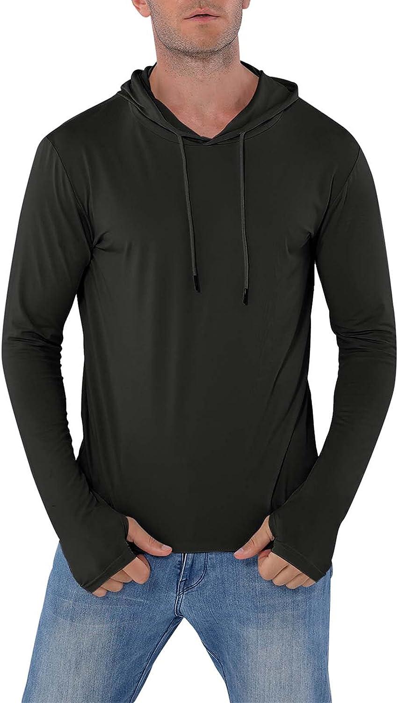 Mens UPF 50+ Sun Protection Hoodie Long Sleeve Fishing Pullover Lightweight Running Thumbholes Tops
