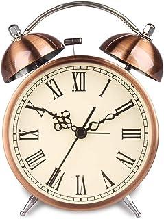 目覚まし時計ツインベル電池式ナイトライトサイレントラウドアラームデジタルレトロローマン文字銅ホーム寝室のベッドサイドメタル Rxcyjlinzw (Color : C)
