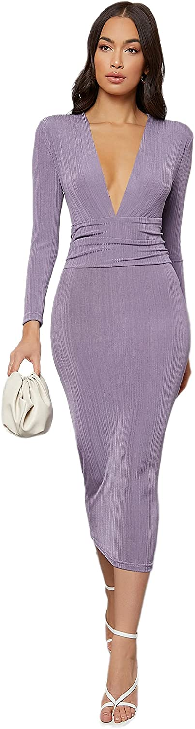 SheIn Women's Long Sleeve Deep V Neck Ruched Waist Solid Pencil Bodycon Dress