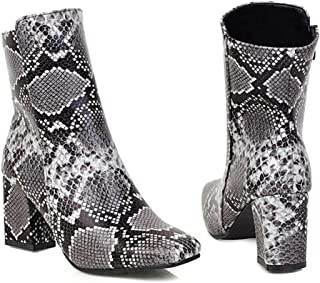 BALABA◕。 Women Stitching Color Chunky Heels Boots Side Zipper Short Plush Lined Snake Print Ankle Boots