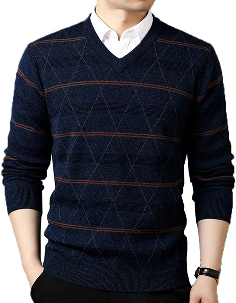 ALLINNINE Male Woollen Pullover Sweaters Warm V-Neck Men's 100% Wool Washable for Three Seasons Size M-3XL
