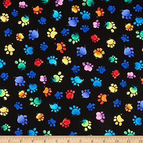 Timeless Treasures Meow-Za Multi Colored Paws Black, Quilting Fabric by the Yard