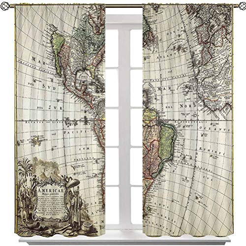 Aishare Store Blackout Curtains, Old Map Europe North South America Canada Medieval Atlantic Heritage Travel Image, 2 Panels 84 Inches Long Rod Pocket Curtains for Girls Bedroom
