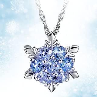 Women Girls Frozen Snowflake Light Blue Crystal Pendant Necklace Winter Snow Ice