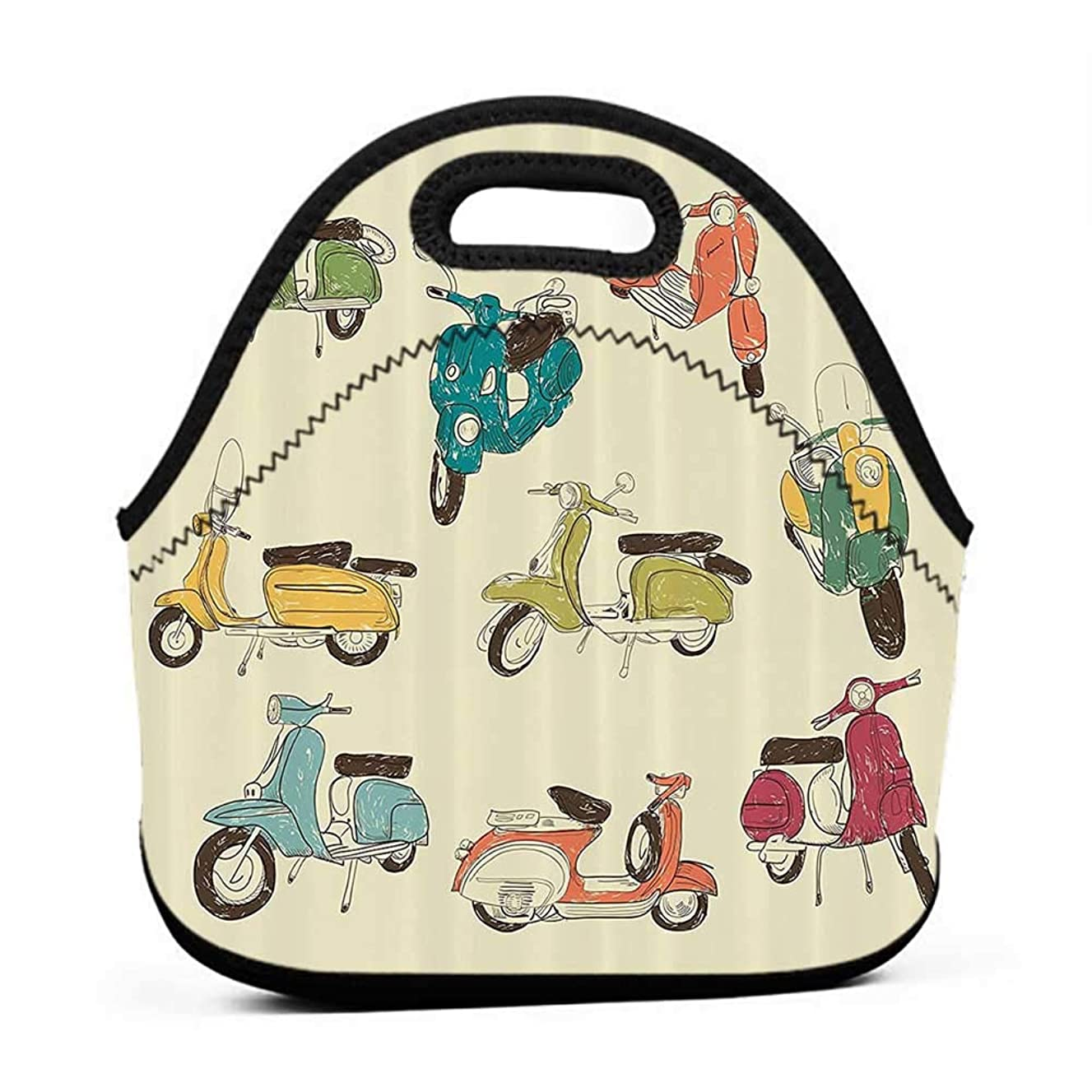 Rugged Lunchbox 1960s Decorations Collection,Scooters Daring Romantic Aged History Motor Trip Street Town Power Retro Art,Soft Green Yellow Blue,small meal lunch bag for men