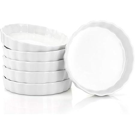 White 6 Ounce Creme Brulee Dish丨 Set of 6 RnMgg Porcelain Round Ramekins for Baking