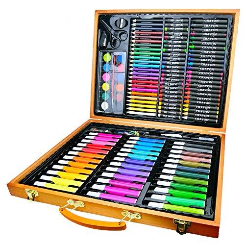 Yhjkvl Juego de rotuladores de acuarela perfecto para principiantes para colorear y dibujar artistas, 150 piezas de madera de caja de arte para pintar y dibujar