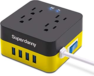 SUPERDANNY Square Surge Protector Power Strip with USB 9.8ft Extension Cord 2400W 10A with 4 Outlet 4 Smart Quick Charging USB Port 4.8A for Phone Pad PC Laptop Yellow