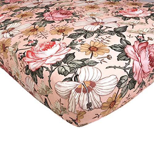 The Mini Scout Garden Floral (rose rose) – Drap-housse en coton tissé pour lit bébé Inspiration lit bébé bébé berceau housse de matelas matelas bébé lit bébé