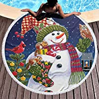 雪だるま 動物 ラウンド ビーチ タオル 150 Cm、厚手のラウンド ビーチ タオル - サークル ビーチ ブランケット マイクロファイバー ヨガ マット、タッセル付きの超吸収多機能タオル