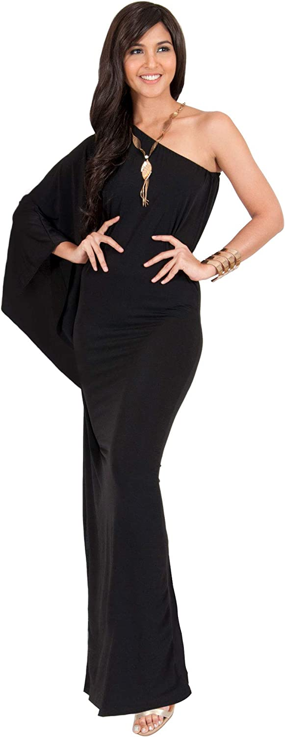 KOH KOH Womens Long Sexy One Shoulder Evening Cocktail Semi Formal Maxi Dress