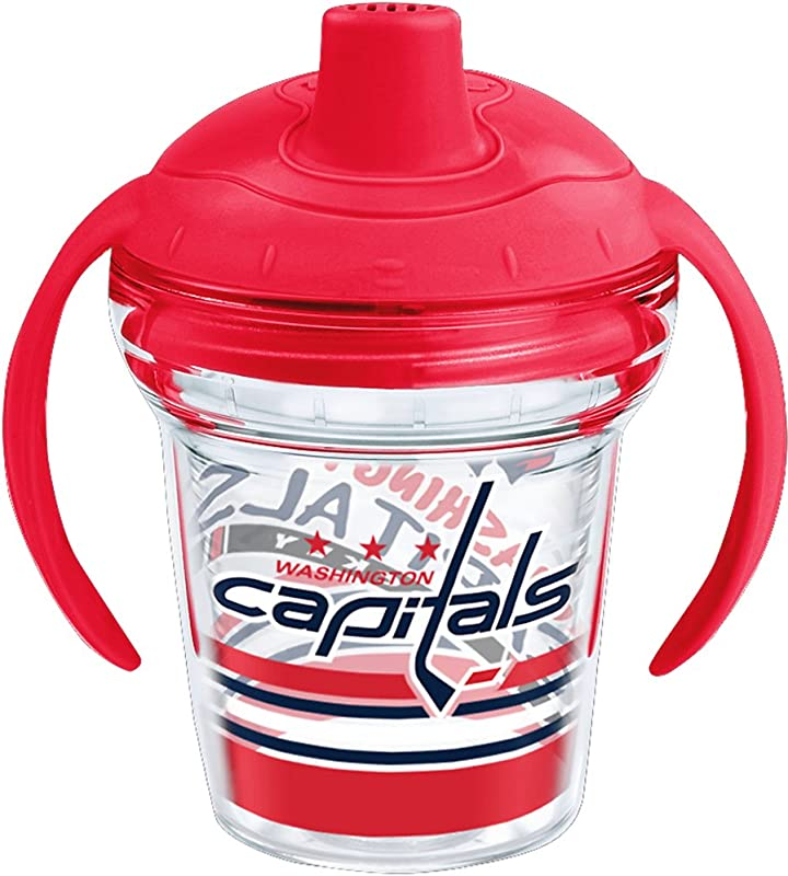 Tervis 1259938 NHL Washington Capitals Lil Fan Insulated Tumbler With Wrap And Fire Engine Red Lid 6 Oz My First Sippy Cup Clear
