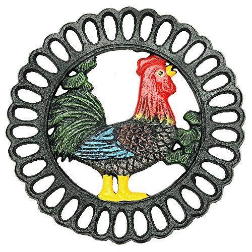 Sungmor Robuster Gusseisen-Untersetzer, dekorativer Malerei-Untersetzer für Küche oder Esstisch, 19,1 x 19,1 cm – r& mit schönem Vintage-Cock-Muster