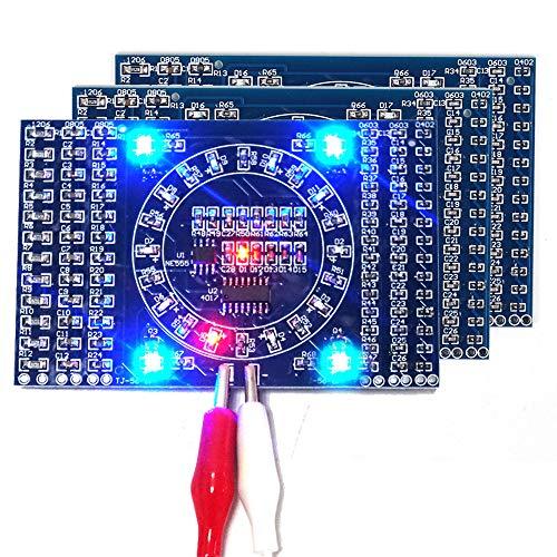 Kyrio 3PCS Kit de Bricolaje electrónico SMD Intermitente Giratorio LED Componentes Placa de práctica de Soldadura Habilidad Circuito Suite de capacitación Kit de Bricolaje electrónico