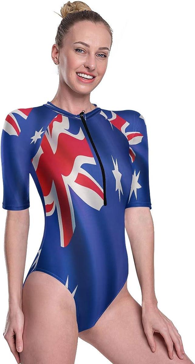 Godfery Gabriel Women's One Piece Short Sleeve Rashguard Surf Swimsuit Flag of Australia Bathing Suit