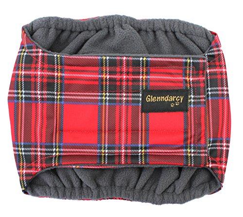 Glenndarcy Fascia per pancia in tessuto impermeabile per incontinenza urina cane maschio - Royal Stewart Medium Long band only