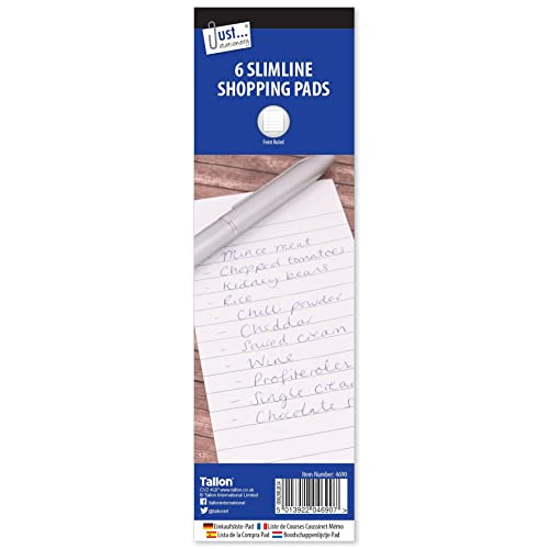 6 Pack Slimline Lined Shopping Pads To Do Lists Note Book White Plain Covers New