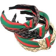 Domoki Designer Red Green Stripe Headbands - 3 Pack Fashion Bow Knot CC Letter Print Hair Hoops...