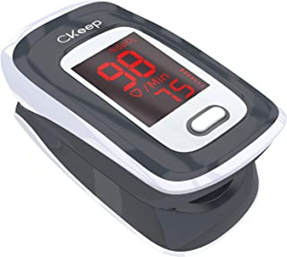 CKeep Fingertip Pulse Oximeter Blood Oxygen Saturation Monitor for Sports or Aviation with LED Screen and Batteries