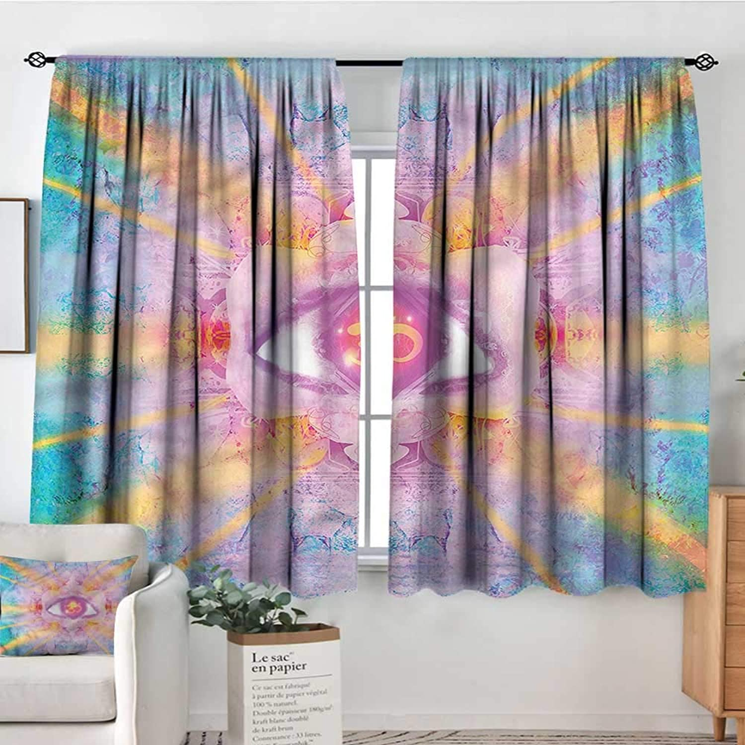 Mandala,Decor Curtains Sun and Clouds Spiritual 42 X63  Drapes for Baby Iving Room