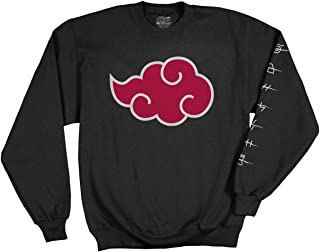 Naruto - Shippuden Adult Akatsuki Cloud Anti Leaf Symbols Fleece Crew Sweatshirt