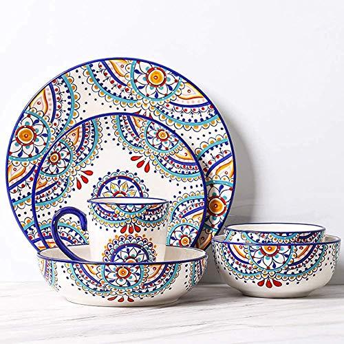 XLAHD Platos de Cena, Juego de vajilla Fina, Juego de vajilla de 6 Piezas para Cocina y Comedor, Servicio para 1, diseño Floral español, Multicolor