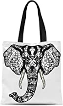 Semtomn Cotton Canvas Tote Bag Elephant Head Adult Antistress Coloring Page Black White Doodle Reusable Shoulder Grocery Shopping Bags Handbag Printed