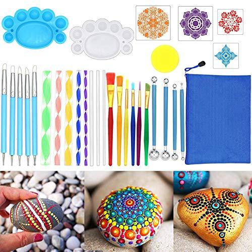 Mandala Dotting Tools, Dot Painting Tool,Tool Kit voor het schilderen van rotsen kleuren tekenen en opstellen van kunst benodigdheden, bevat acryl Kits, borstels, verf dienbladen, sponzen, enz. (35)