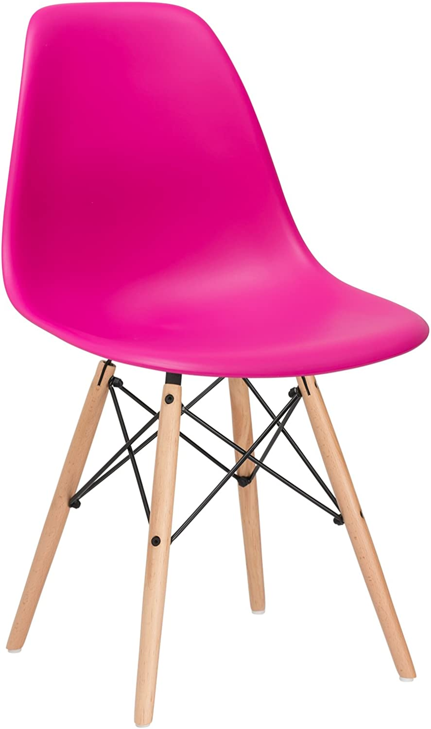 Poly and Bark Eames Style Molded Plastic Dowel-Leg Side Chair with Natural Legs, Fuchsia