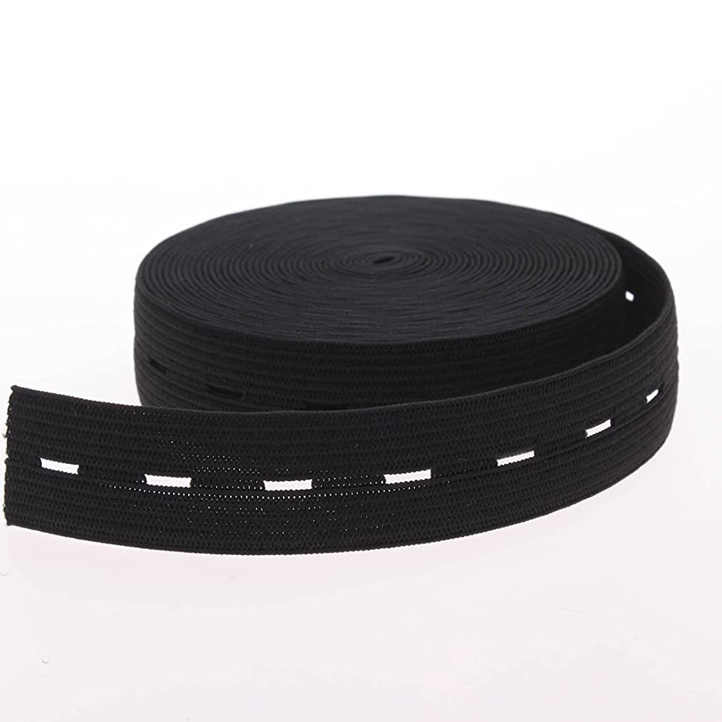 Cotowin 3/4-Inch Wide Black Knit Buttonhole Elastic 5 Yards + 5 Wood Buttons (11mm)
