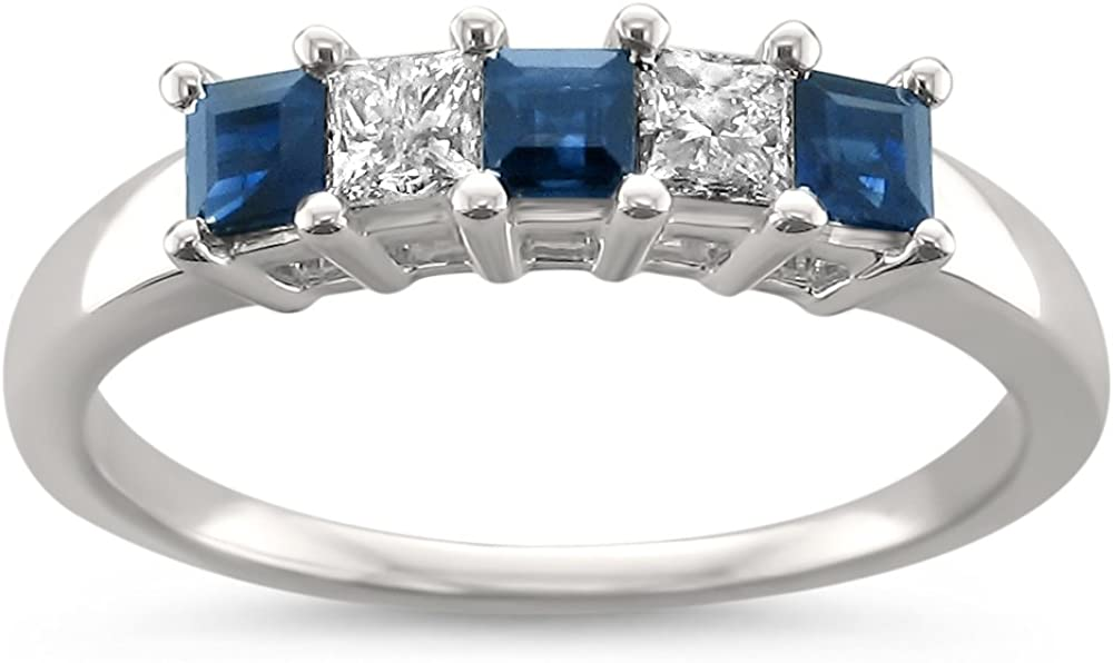 14k White Gold Princess-cut Diamond & Blue Sapphire Bridal Wedding Band Ring (1/2 cttw, H-I, I2-I3)