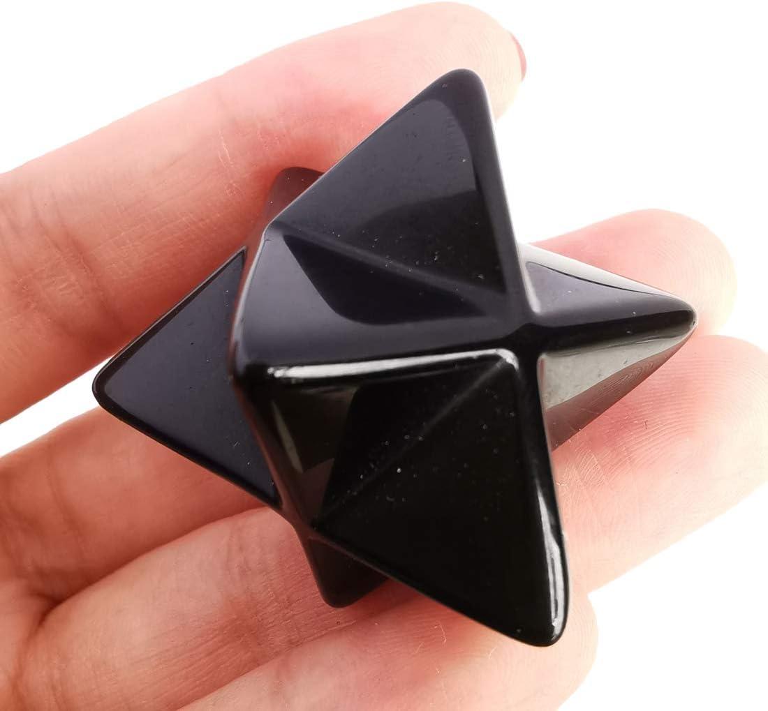 Loveliome Rare Natural Black Obsidian Crystal Protection New sales Merkaba Sacr