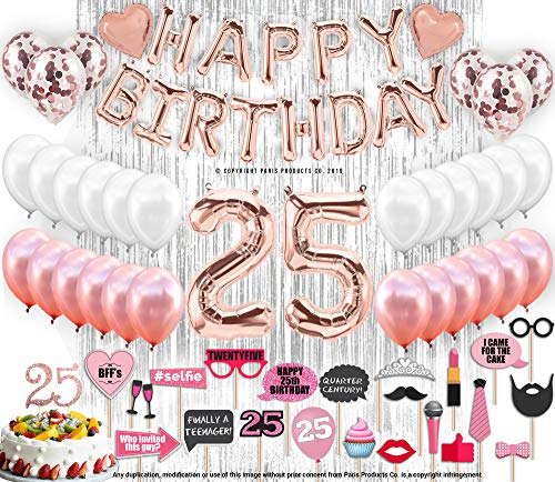 25th Birthday Decorations with Photo Props | 25 Birthday Party Supplies | 25 Cake Topper Rose Gold Banner | Rose Gold Confetti Balloons for her |Twenty Fifth Bday |Silver Curtain Photo Booth Backdrop