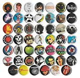 Huge Wholesale Lot of 48 Music and Band 1 Inch Pins/Buttons/Badges