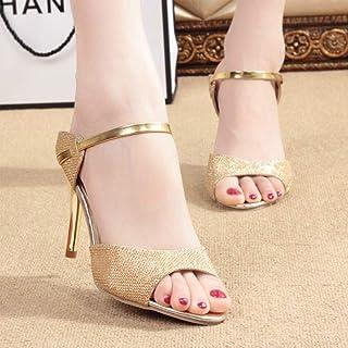 Women Sandals Fashion High Heels Slipper Silver Golden Thin Heel Ladies Summer Shoes