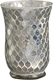 Biedermann & Sons Decorative Glass Hurricane Candle Holder, 5.5 x 7.9-Inches, Icicle Mosaic