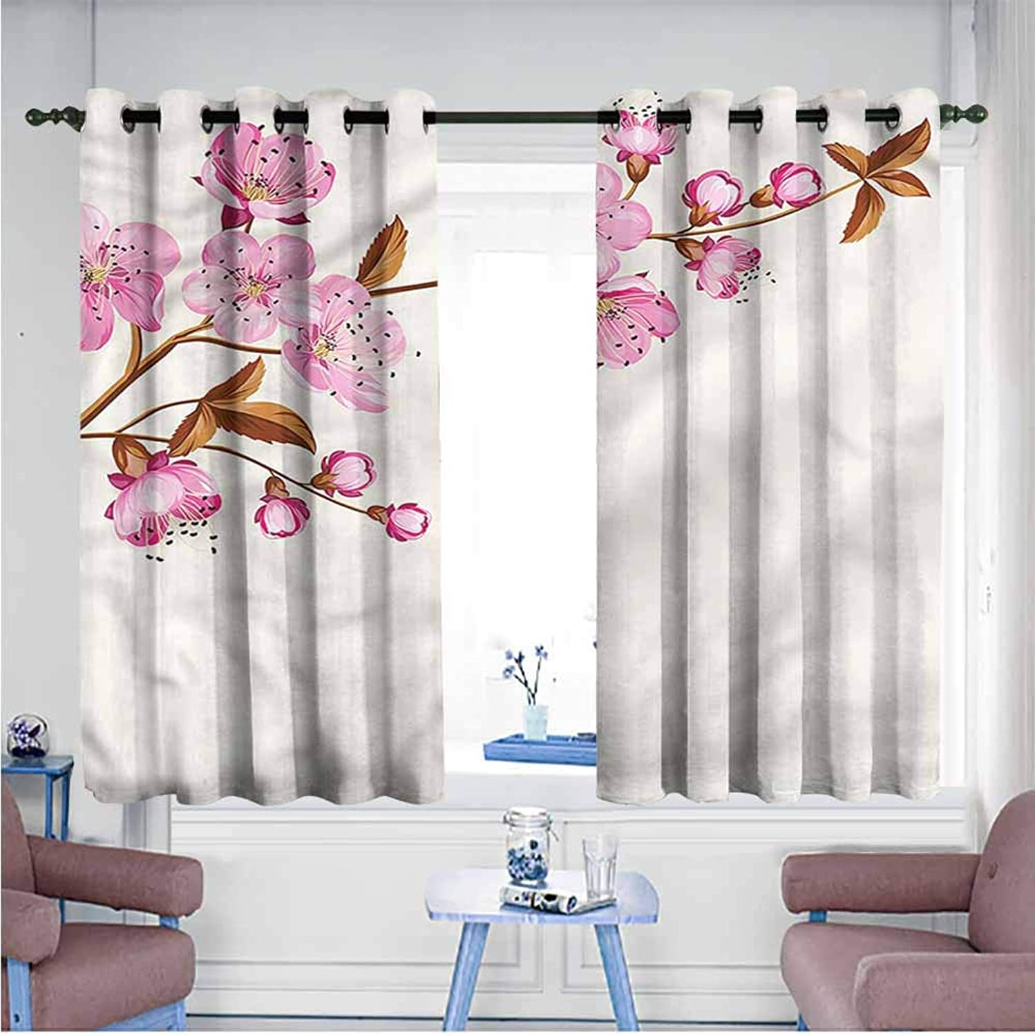 Mdxizc Curtain for Kids Flower Springtime Cherry Blossoms Children's Bedroom Curtain W55 xL72 Suitable for Bedroom,Living,Room,Study, etc.