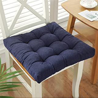 XFXDBT Thicken Square Tatami Cushions,Corduroy Chair Pads Cozy Quilted Cushions Breathable (Chair is Not Included) Indoor Outdoor Overstuffed-Navy Blue 50x50cm(20x20in)
