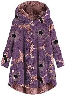 LENXH Women's Plush Jacket Fashion Top Hooded Sweater Plush Coat Button Tops Solid Color Shirt