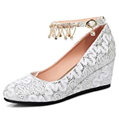 d7372f0e922b IDIFU Women s Sweet Sequins Fringes Mid Wedge Heels Ankle Str ..