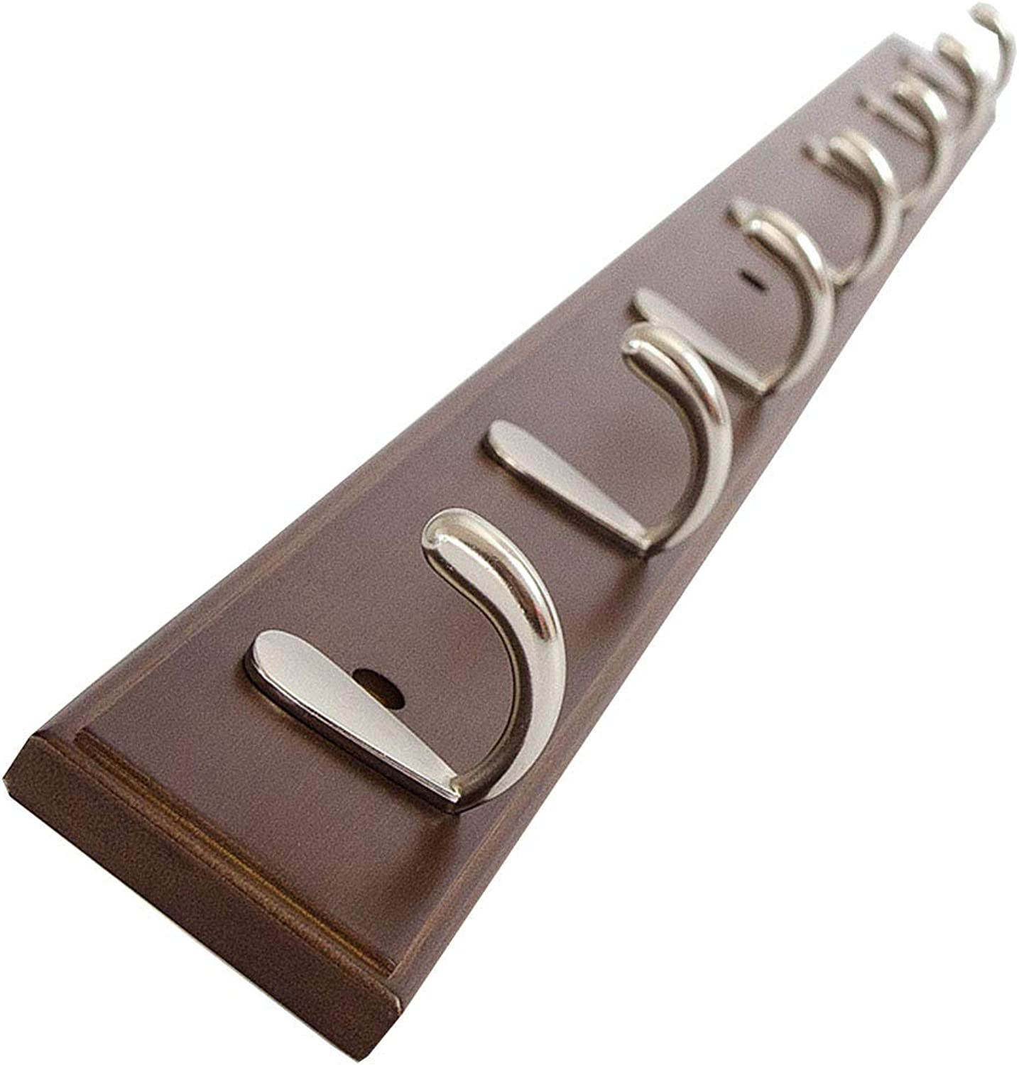 Wall Mount Coat Rack Wooden Clothes Hat Holder Heavy Duty Simple Hooks Brown (Size   86.8cm(7 Hook))