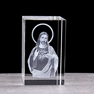 XINDAM 3D God Jesus Paperweight(Laser Etched) in Crystal Glass Cube(No Included LED Base)(3.1x2x2 inch)