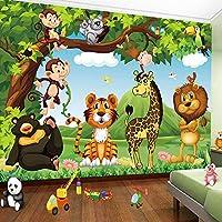 キッズルーム漫画動物タイガーライオンポスター子供部屋寝室の壁の装飾壁画壁紙の3D写真の壁紙-300x210cm
