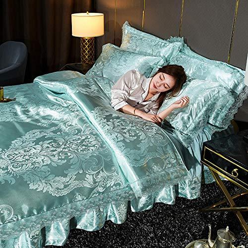 Bedding-LZ Juegos de sábanas 160x200 Verano,Falda de Cama, Juego de Cuatro Piezas de Seda, algodón, algodón, Cama Doble, Ropa de Cama Individual para Matrimonio-L_Cama de 1,8 m (4 Piezas)