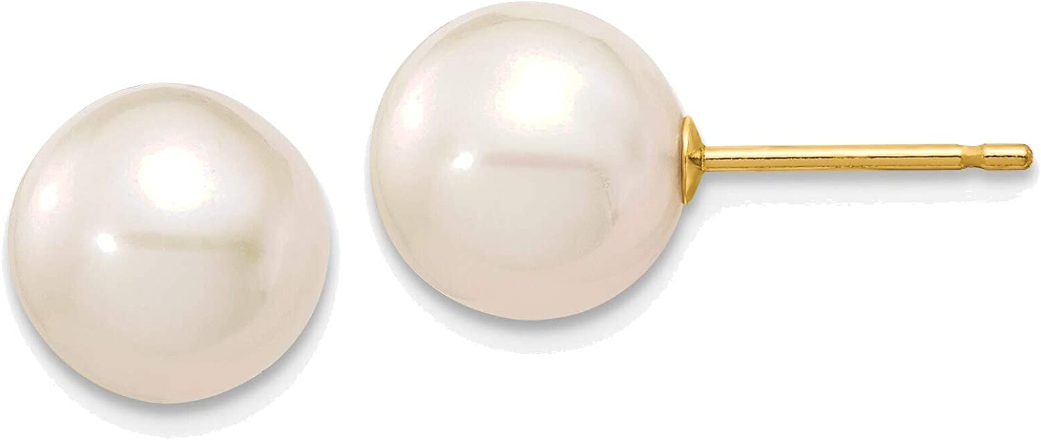 8-9mm White Round Freshwater Cultured Pearl Stud Post Earrings in 14K Yellow Gold