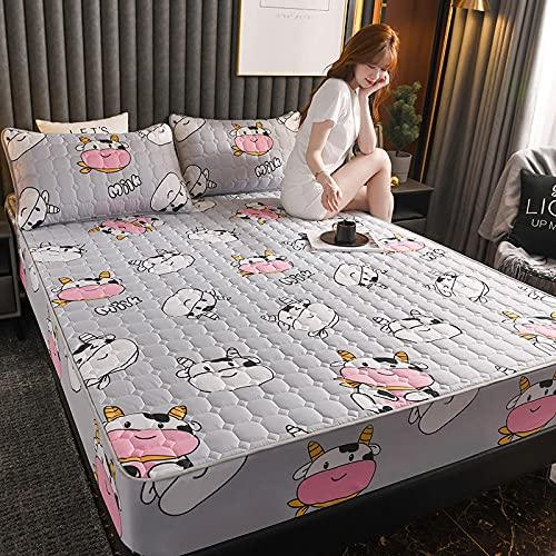 YFGY Bajera Ajustable Combina Single, Protector de colchón Acolchado Cepillado Engrosado, sábanas Ajustables con Todo Incluido Almohada, Vacas 90 * 200 cm (3 Piezas)