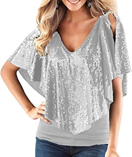 FRPE Women's V-Neck Glitter Sequins Cold Shoulder Shawl Patchwork Tops Shirt Blouse