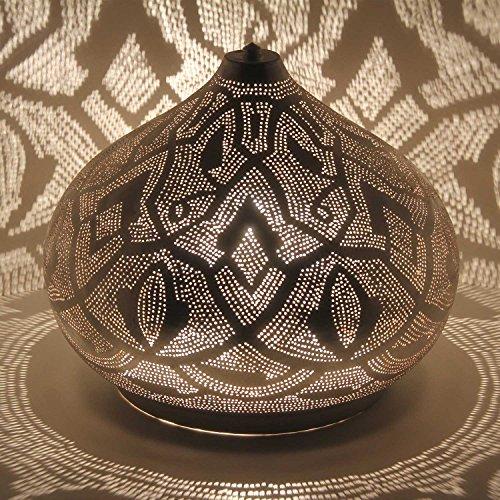 Orientalische Bodenleuchte marokkanische Lampe Qahira D41 cm aus Messing in Silber | 100% versilberte Messinglampe | Prachtvolle Stimmungsleuchte wie aus 1001 Nacht | ESL2080